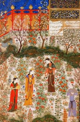 Herat, Humay e Humayun in un giardino, 1430 ca.