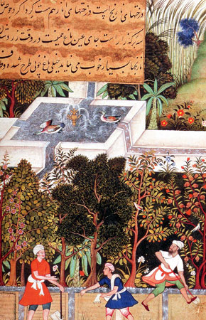 Anonimo, Il giardino della fedeltà , dipinto dal manoscritto Vaki'at-i Baburi, 1590 ca.